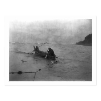 Two Indians Fishing on Lake Quinault on Canoe Postcard