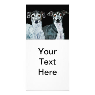Two Italian Greyhounds Painting Picture Card