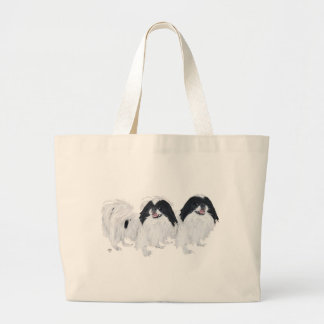 Two Japanese Chin Dogs Large Tote Bag