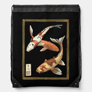 Two Japanese Koi Goldfish on Black Background Rucksacks