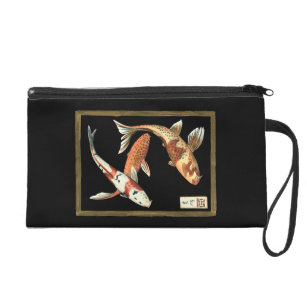 Two Japanese Koi Goldfish on Black Background Wristlet