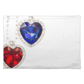 Two jewelry hearts blue and red hanging together place mat