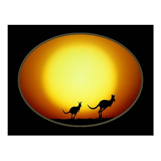 Two Kangaroos Silhouetted in an Oval Design Postcard