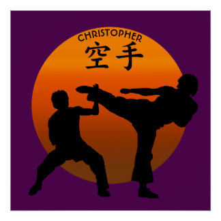 Two Karate Fighters With Rising Sun Poster