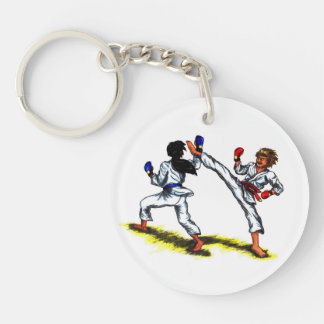 two karate men fighting each other in a tournament Single-Sided round acrylic key ring