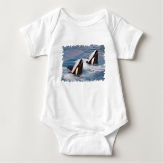 Two killer whales baby bodysuit