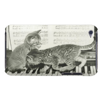 Two kitten playing on piano keyboard, (B&W) Barely There iPod Covers
