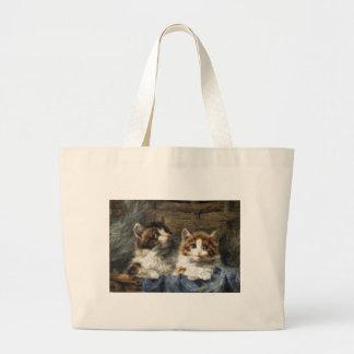Two kittens 2 jumbo tote bag