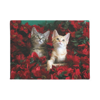 Two Kittens In Poinsettias Welcome Doormat