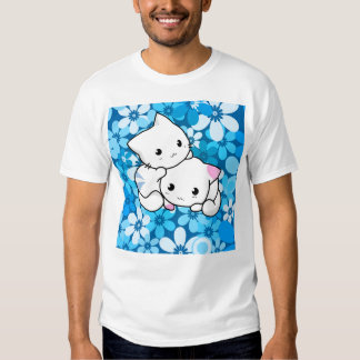 Two Kittens on Blue Background T Shirts