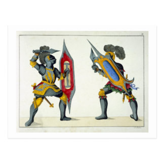 Two knights fighting, plate from 'A History of the Postcard