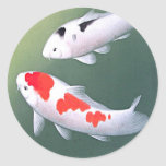 Two Koi, Japanese Woodblock Print Sticker