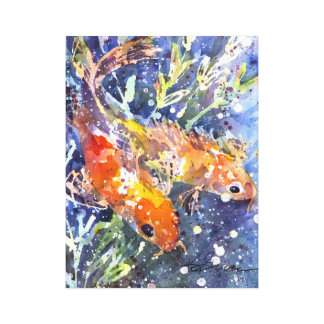 Two Koi watercolor painting Canvas Print
