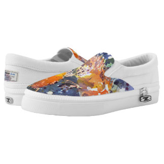 Two Koi watercolor print Slip on Shoes Printed Shoes