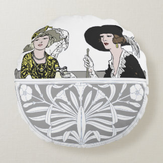 Two Ladies in Hats Round Cushion
