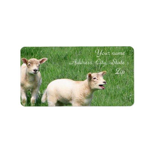 Two Lambs Address Label