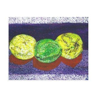 Two Lemons and a Lime Stretched Canvass Print