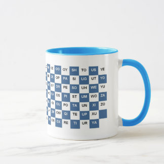 Two Letter Words  Blue and white Intrl. version Mug