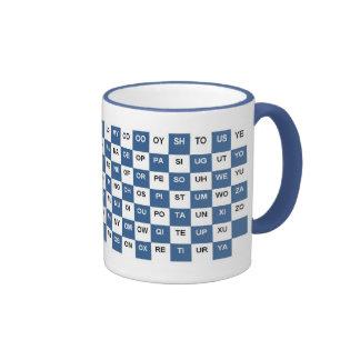 Two Letter Words  Blue and white Intrl. version Ringer Mug