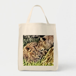 two lions painting grocery tote bag