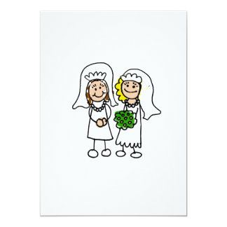 "Two Little Brides 5"" X 7"" Invitation Card"