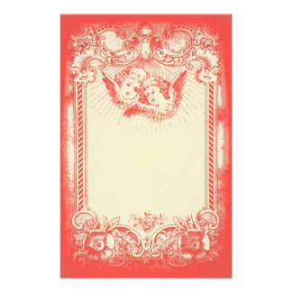 Two Little Christmas Angels with Red Border Customised Stationery