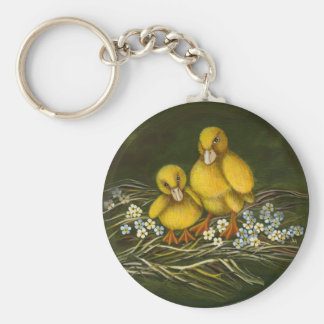 Two little ducklings basic round button key ring