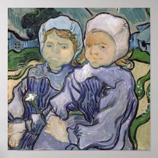 Two Little Girls, 1890 Print