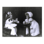 Two Little Girls at a Tea Party Postcards