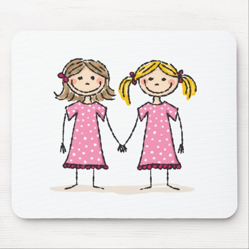 Two little girls holding hands mouse pads