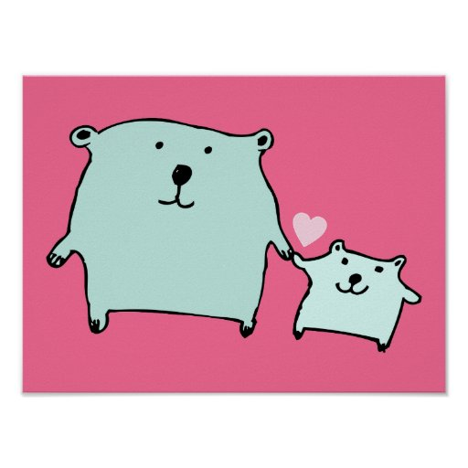 Two Little Love Bears Pink Poster