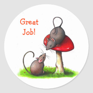 Two Little Mice: Color Pencil Art: Mushroom Classic Round Sticker