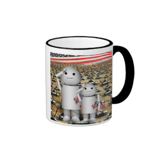 Two Little Patriotic Robots with Lots of Tanks Coffee Mugs
