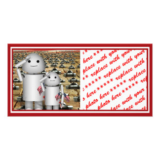 Two Little Patriotic Robots with Lots of Tanks Photo Greeting Card