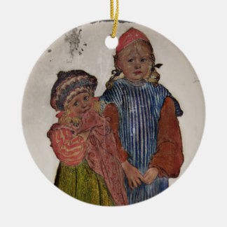 Two Little Sisters 1906 Round Ceramic Decoration