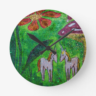 Two Little Unicorns under a Mushroom Round Clock