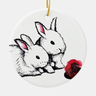 Two Little White Rabbits Round Ceramic Decoration