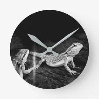 Two Lizards Round Clock