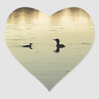 Two loons heart sticker