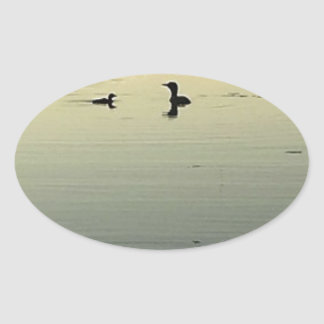 Two loons oval sticker