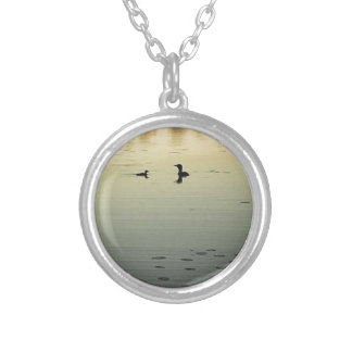 Two loons silver plated necklace