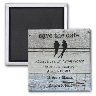Two Love Birds Rustic Wood save the date Magnet