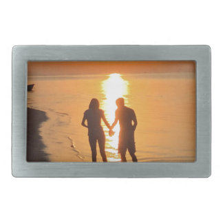 Two lovers at sunrise belt buckle
