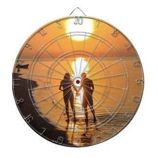 Two lovers at sunrise dartboard