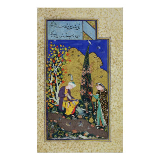 Two Lovers in a Flowering Orchard Poster