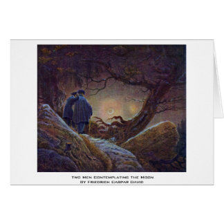 Two Men Contemplating The Moon By Friedrich Caspar Card