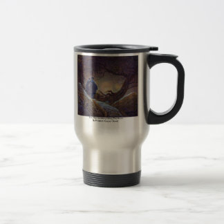 Two Men Contemplating The Moon By Friedrich Caspar Travel Mug