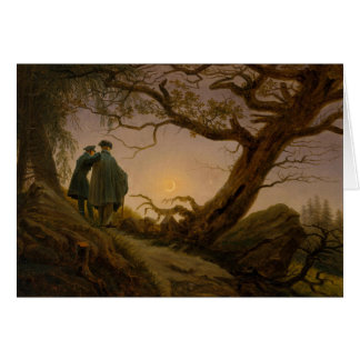 Two Men Contemplating the Moon Card