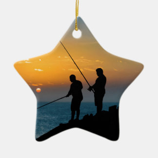 Two Men Fishing at Shore Ceramic Ornament