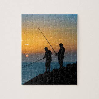 Two Men Fishing at Shore Jigsaw Puzzle